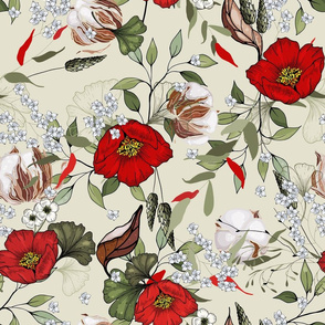 Red poppies and cotton