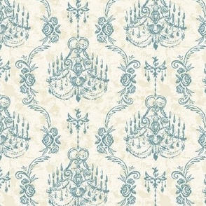 chandelier rococo teal and gold small