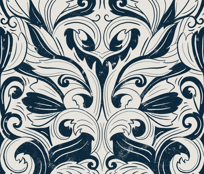 Rococo Inspired Textured Damask - blue and tan cream - large scale
