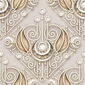 Futuristic rococo ornament with 3d effect on beige