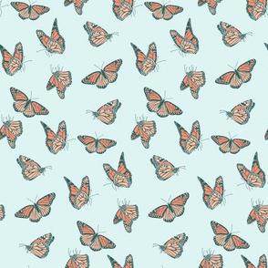 Small Butterflies in Orange and Aqua