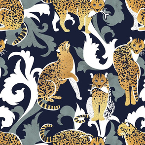 Love the wild fishing cat // normal scale // navy blue background with rococo inspiration green vegetation golden spotted animals
