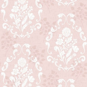 modern rococo flowers white on rose