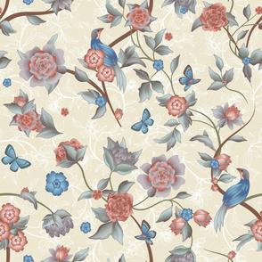 Birds and Butterflies-Venetian Rococo-Neutrals, Blue, Aegean Teal, Rose-SFDC Rococo-