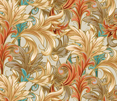 Rococo Bliss | Natural-Coral-Teal-Taupe