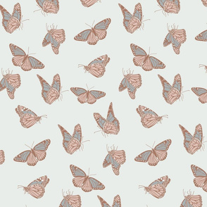 Medium Butterflies in Neutral Soft Blue Green and Taupe