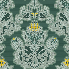 Fancy bird and thistle in rococo style