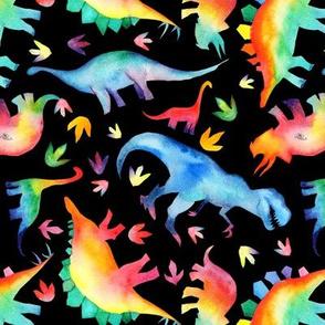 Watercolour Rainbow Dinos - non directional - medium scale - on black
