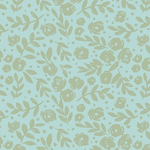 Large scale - isabella floral - rococo inspired - soft blue with sage floral