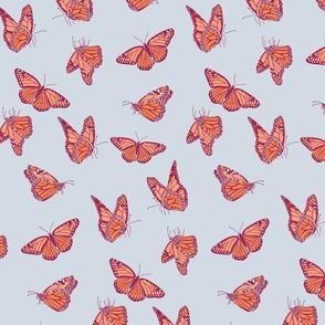 Medium Monarch Butterflies in Blue Gray Orange and Burgundy