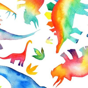 Watercolour Rainbow Dinos - non-directional - large scale - on white