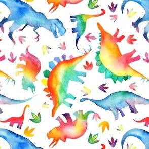 Watercolour Rainbow Dinos - non directional - medium - on white