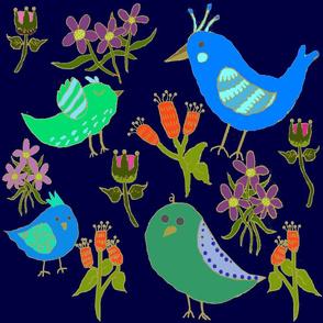 Fantasy Blue Bird Floral On Navy