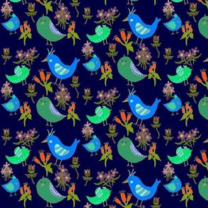 Fantasy Blue Bird Floral On Navy II