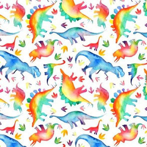 Watercolour Dinosaurs - non directional - small scale - on white
