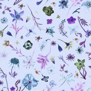 hand drawn watercolor flowers periwinkle