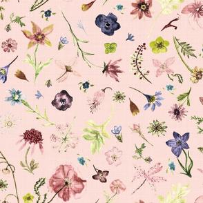 hand drawn flowers blush linen