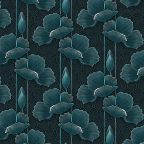 TEAL POPPIES small