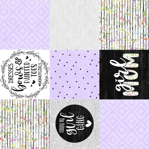 Girl Mom//Light Purple - Wholecloth Cheater Quilt - Rotated