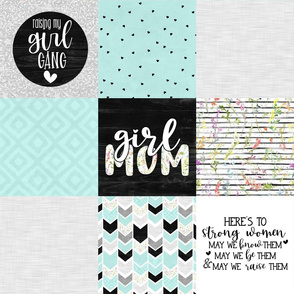 Girl Mom//Mint - Wholecloth Cheater Quilt