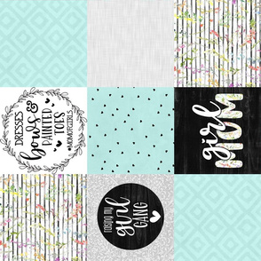 Girl Mom//Mint - Wholecloth Cheater Quilt - Rotated