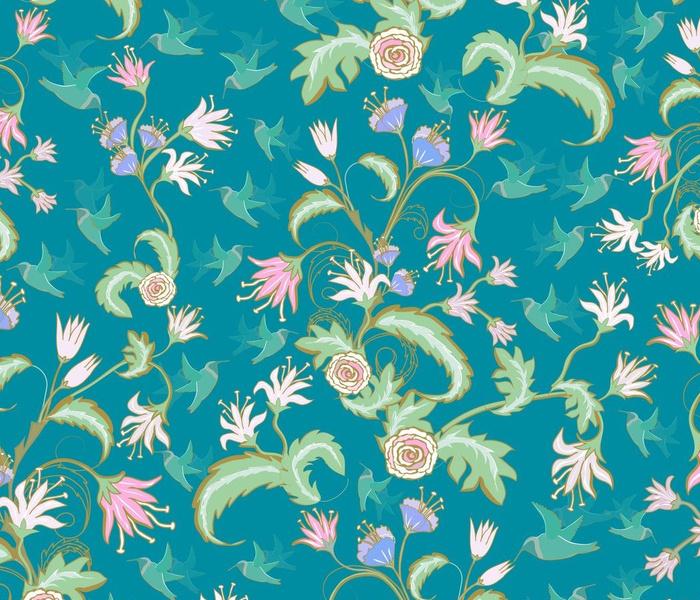 Rococo Floral Hummingbird Garden