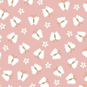 Little butterfly boho blossom garden spring summer nursery design moody pink blush