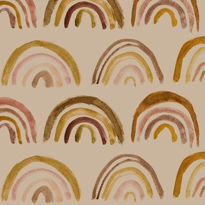 Neutral rainbows on tan - watercolor chocolate shades p106