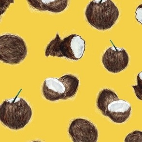 Caribbean coconuts on mustard - watercolor tropical  p160-28