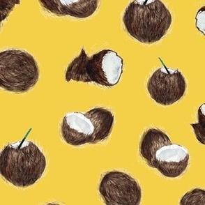 Caribbean coconuts on mustard - watercolor tropical  p160-28