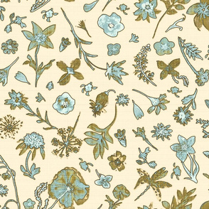Sketchbook teal and moss green floral