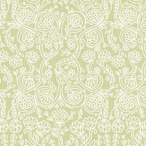 Batik Rococo Pale Olive Yellow