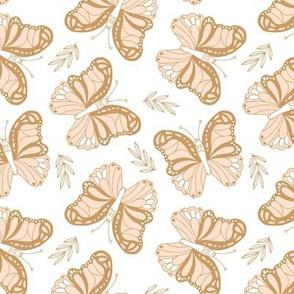 Seventies retro butterfly cream cinnamon yellow on white