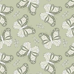 Seventies retro butterfly sage green olive white spring