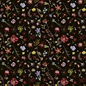 hand drawn watercolor dark floral