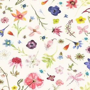 hand drawn watercolor flowers jumbo