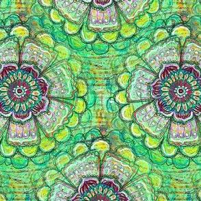 green mandala flower
