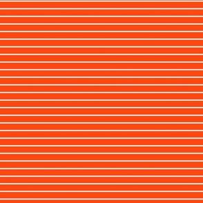 Small Orange Red Pin Stripe Pattern Horizontal in White
