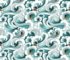 Ocean surfers ride the waves