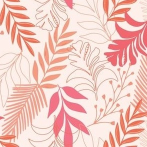 Tropical Leaves - Coral and Pink
