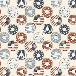 SMALL USA donuts fabric - fourth or July, July 4th fabric - muted
