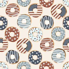 USA donuts fabric - fourth or July, July 4th fabric - muted