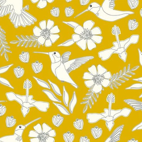 Hummingbirds in Gold