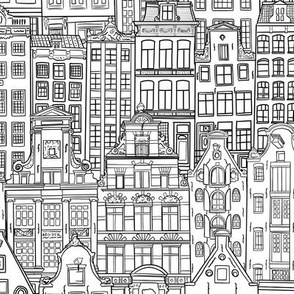 Amsterdam Houses in black ink