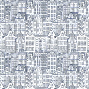 Amsterdam Houses in Delft Blue Ink