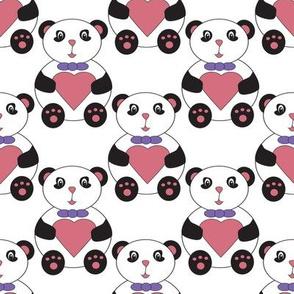 Cute Panda Bear Bow Tie Pink Heart