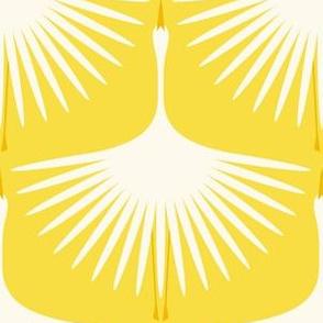 "Art Deco Swans - Sunlight - 6"""
