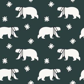 Polar Bears in Scarves - Dark Teal