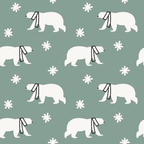 Polar Bears in Scarves - Light Teal