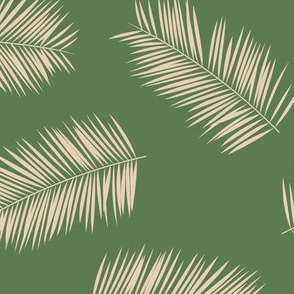 Large palm leaves minimalist tropical island vibes boho garden olive green ivory JUMBO